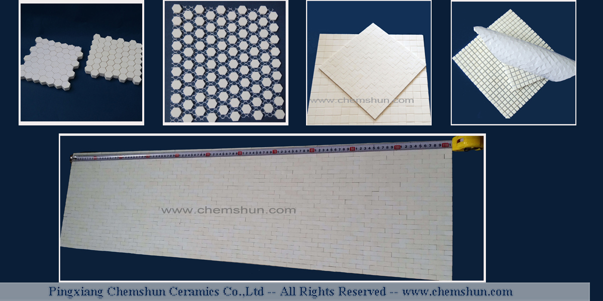 Wear ceramic lining sheet consist of small hexagonal or square tile glued on acetate silk or other special medium. this ceramic tile mats has character of  thin thickness, low weight,flexibility.