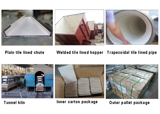 Oxide ceramic alumina tile has charaters of abrasive & wear resistance,corrosion resistance,high temperature resistance,low weight,easy installation.which can effectively protect industry material handling machines against wear damage.especially applied in mining,port,cement,steel plant,power generation industry etc.