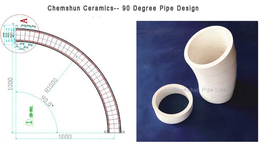 Wear resistant ceramics pipe elbow , pipe sleeve is used as composite ceramics tube lined steel , wildely used in power plant boiler milling system piping.