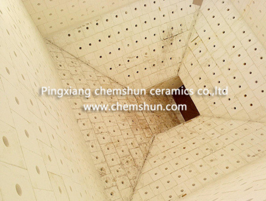 chemshun alumina ceramic weldable tiles as chute liner