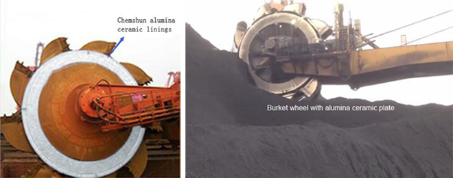 Wear ceramic liner for bucket wheel
